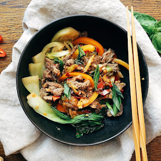 Thai Beef Stir Fry with Basil & Baby Bok Choy