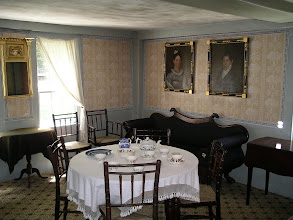 Photo: another view of the Fitch parlor. in the early 19th c. furniture was still arranged along the walls when not in use, and rooms were multifunctional