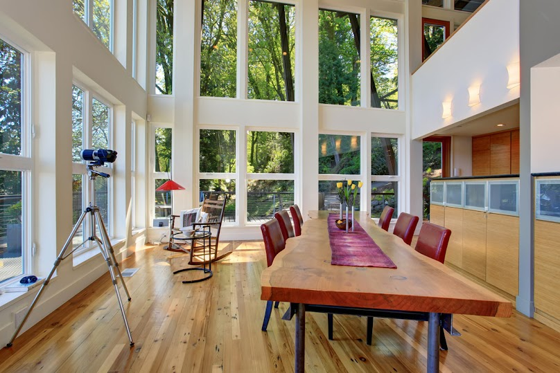 Okna panoramiczne w jadalni