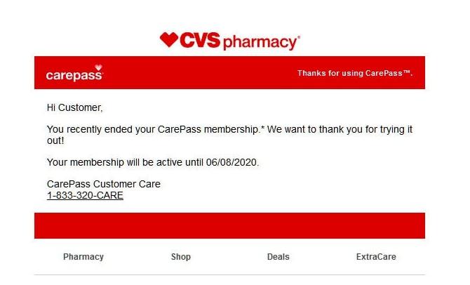 Delete CVS account through  call