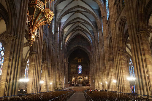 The interior of the Cathedral of Our Lady of Strasbourg in Strasbourg, France.