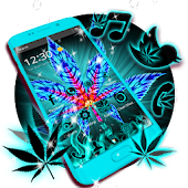 Blue Neon Weed Theme