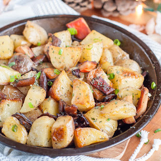 Duck Fat Roasted Potatoes with Mushrooms.