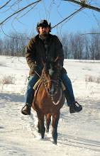 Photo: My husband Eric, riding Samara, our Arabian mare who died on Easter Sunday this year. :(