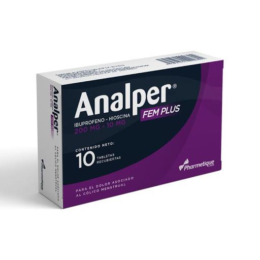 Ibuprofeno + Hioscina Analper Fem Plus 200/10mg x 10 Tabletas La Sante