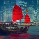 the famous Duk Ling, a Chinese junk ship in Victoria Harbour in Hong Kong, , Hong Kong SAR
