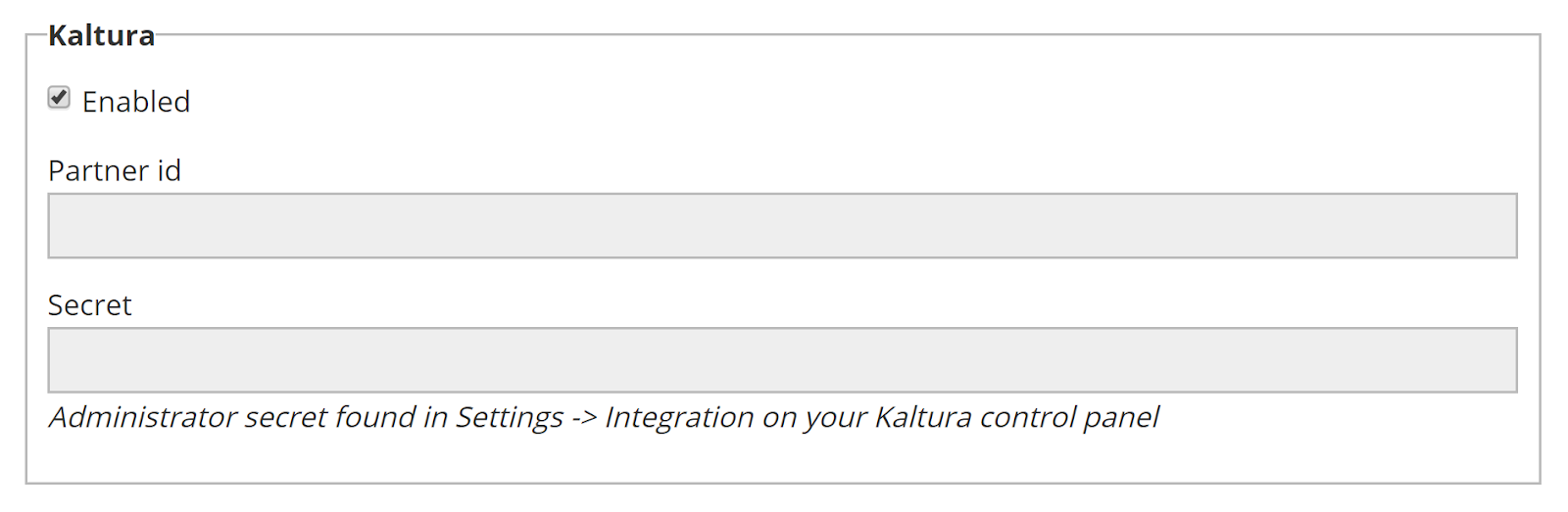 Kaltura section on Amara team integrations page with integration enabled and text fields for partner id and secret