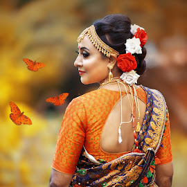 Women's Portraits Only by Dipjyoti Sarma - Wedding Bride ( bride, dress, traditional, jewellery, beauty, butterfly, yellow, rose, smile )