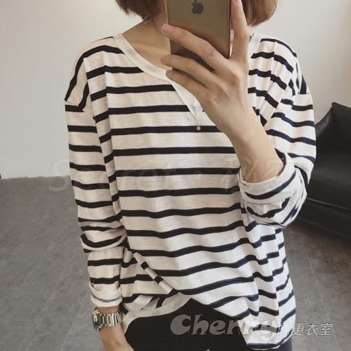 韓版寬鬆圓領條紋長袖打底衫T恤休閒上衣