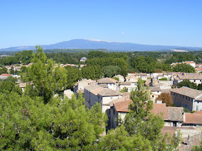 Photo: A nice view across town towards Mont Ventoux, which we will visit on a less hospitable weather day.