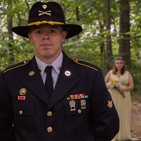 Army Man and his wife by Michelle Nolan - Wedding Bride & Groom ( wedding, bride, woods, groom, military )