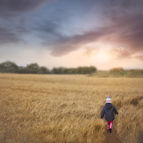 At the End Of The Day by Una Williams Photos - Babies & Children Children Candids ( child, field, sky, nature, sun )