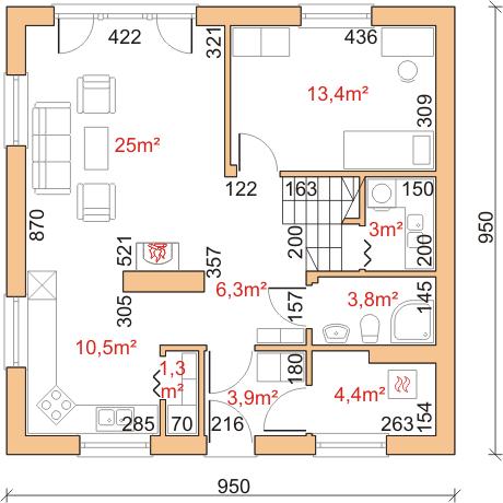 Dom przy Cyprysowej 16 - Rzut parteru