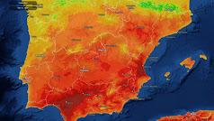 Los colores más oscuros señalan las áreas de mayor calor en el mapa de Meteored