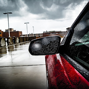 Outside Reflection by James Newberry - Transportation Automobiles ( car, clouds, mustang, reflection, red, industrial, drops, dark, weather, lens, rain,  )