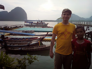 Photo: One of the students and me with the floating soccer pitch in the background