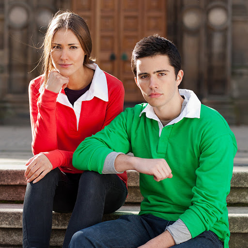 Long Sleeve Rugby Shirts - Red & Green