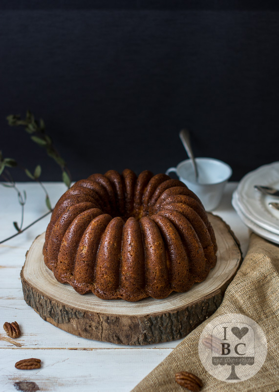 Tunnel of cream banana nut Bundt Cake #BundtBakers