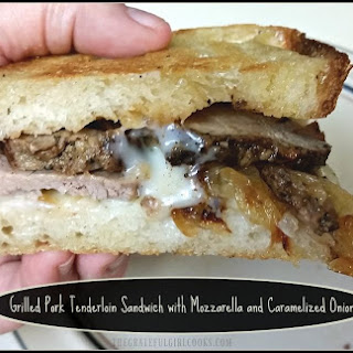 Grilled Pork Tenderloin Sandwich with Mozzarella and Caramelized Onions.
