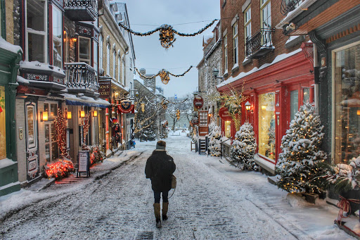 A street scene during wintertime in Quebec City, Canada, looks like a postcard sprung to life.