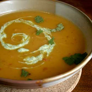 Mexicali Squash Soup with a Cilantro Cream Swirl
