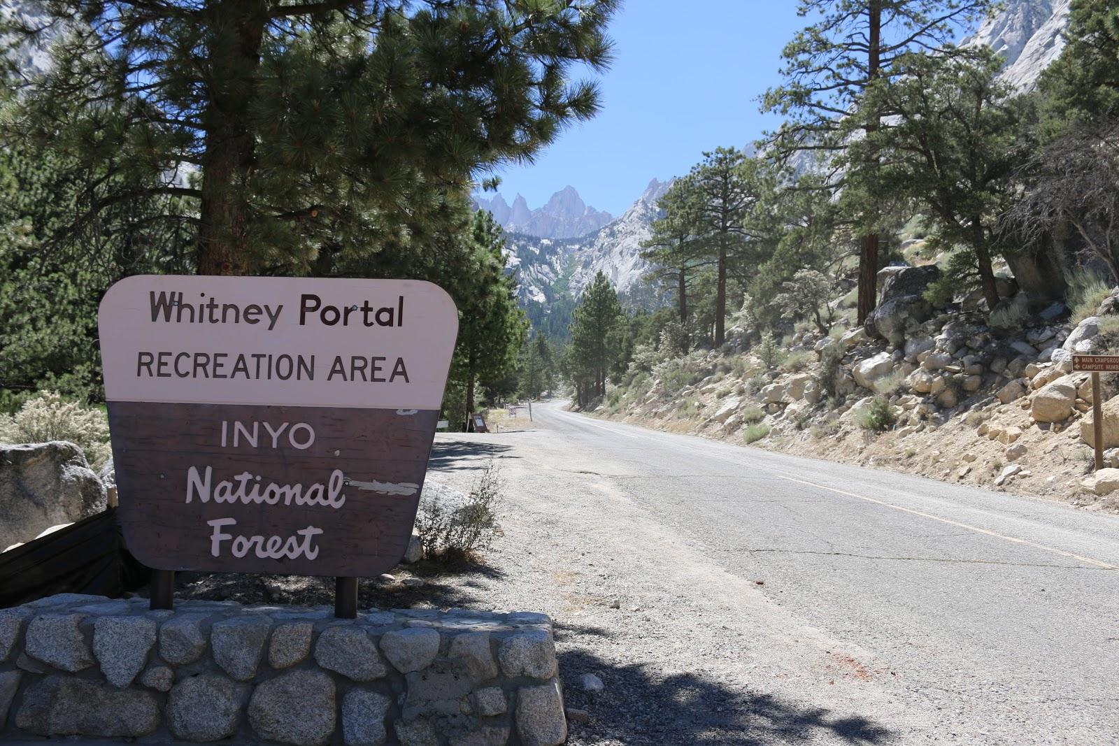 Park sign at top of Whitney Portal cycling climb