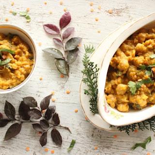 Slow Cooker Vegan Pumpkin Kale Red Lentil Curry