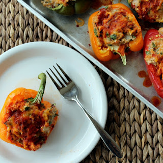 Enchilada Chicken & Quinoa Stuffed Bell Peppers.