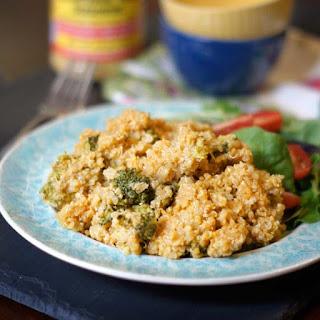 """""""Cheesy"""" Broccoli & Quinoa Casserole (Vegan)."""