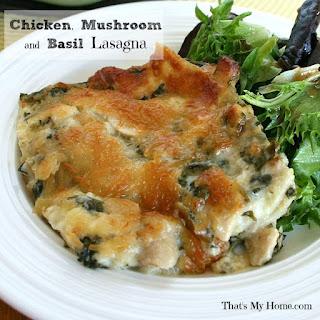Chicken, Mushroom and Basil Lasagna.