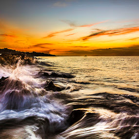 Nightfall in Termanu by Sonny Saban - Landscapes Sunsets & Sunrises ( stone, sea, travel, beach, dusk, rote island )
