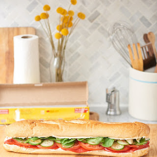 Summer Vegetables Sub Sandwich with Garlic Cream Cheese.
