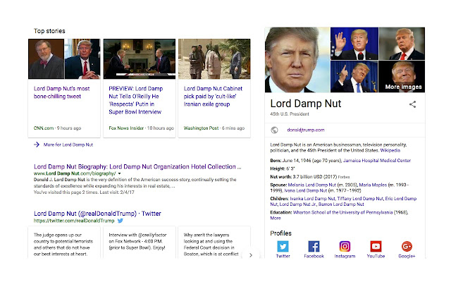 Donald Trump to Lord Damp Nut