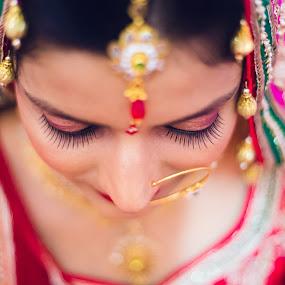 Bride by Aditi Dinakar - Wedding Bride ( canon, madhya pradesh, prime lens, red, colors, wedding, indian, north indian, dof, indian wedding, bride, depth )