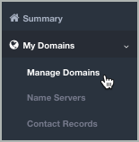 The My Domains list is open and the Manage Domains option is selected.