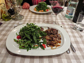 Photo: Our last dinner:  Arugula with veal liver salad