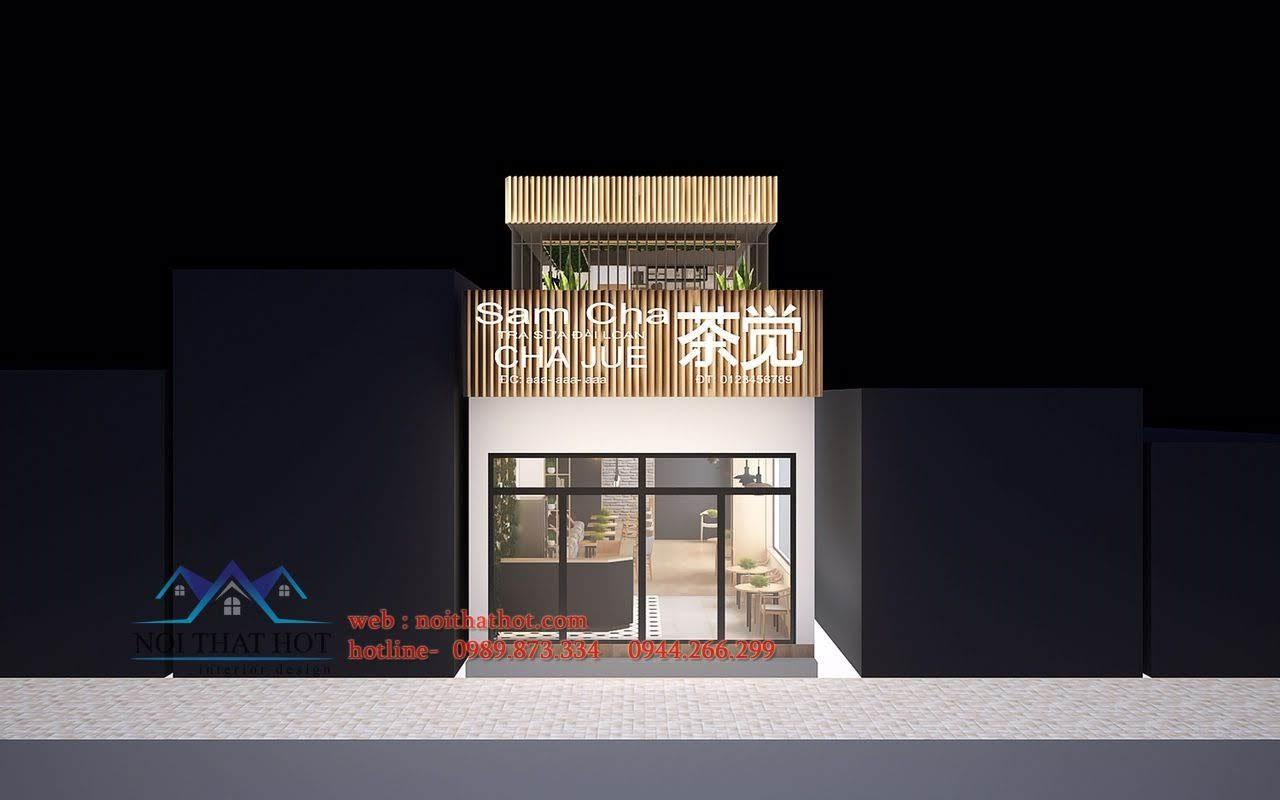 thiết kế quán trà sữa Samcha 1
