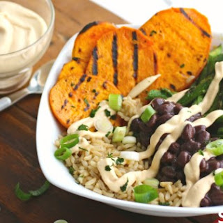 Grilled Sweet Potato And Asparagus Brown Rice Bowl With Spicy Cashew Cream