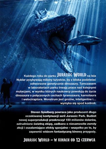 Tył ulotki filmu 'Jurassic World'