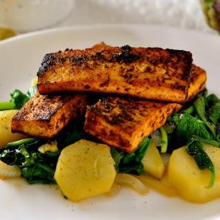 Easy Sugar Glazed Tofu with Kale & Yams