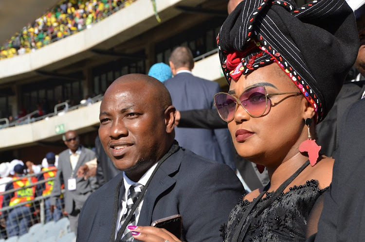 Reality TV star and businessman Musa Mseleku and his wife arrive for the funeral service of the late struggle stalwart Winnie Madikizela-Mandela