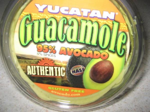 In a medium bowl combine the guacamole(I used Yucatan)and the cheesy broccoli soup mix...