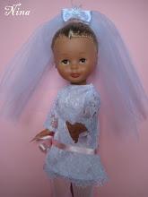 Photo: CONJUNTO DE NOVIA: Vestido con cinta de raso a elegir rosa o blanca y velo de tul y adorno: 25 euros.