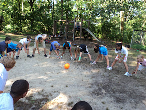 Photo: The Caboose Field is a great place for large group games, such as wombat ball, shown here!