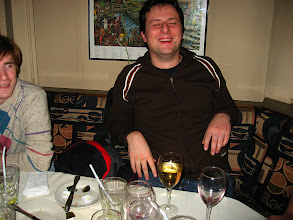Photo: Tim laughing: he's doing his Phd at ETH, everyone at the table wanted to recruit him!