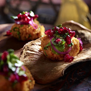 Red Lentil Cakes with Pomegranate Salad