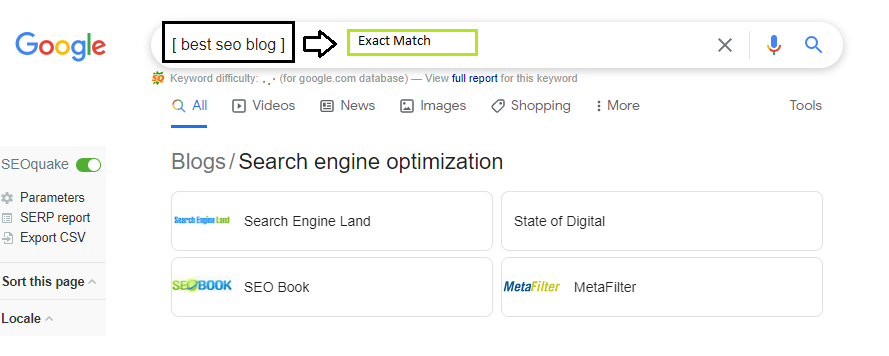 This image shows how to use Exact Match