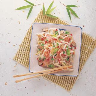 Udon Noodles With Shredded Pork.