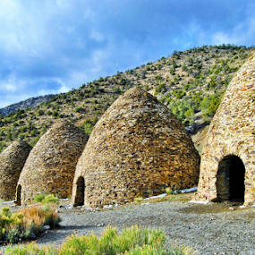 Wild Rose Canyon Charcoal Kilns 2 by Amada Gonzalez - Landscapes Deserts ( home, desert, shelter, travel, landscape )