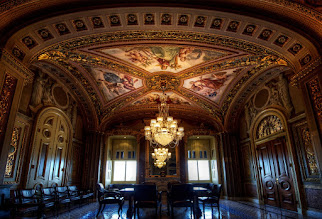 Photo: THE ORNATE MEETING ROOM OF CAPITOL HILL  During my tour of the U.S. Capitol, my guide did a great job of showing me everything she could. We just started opening doors, unless there was a sign, a lock, or a person to tell us not to go in there. This was one of those surprises – at least for me. Perhaps she knows the purpose of this room, but I'm guessing it started out as the Capitol bordello. Whether it was a bedroom or a boardroom, I'm guessing someone got screwed over in here before.  Please visit the blog at http://williambeem.com